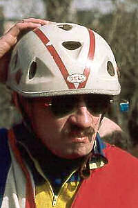 Bell Biker helmet, 1974 (Helmet wearer is Jacek Rudowski, avid Boston-area recreational cyclist.)