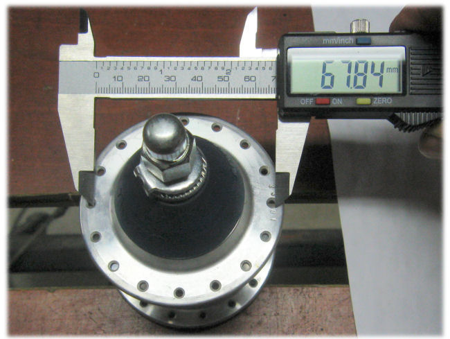 Measuring hub flange diameter with a caliper