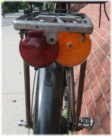 Taillamp and rear reflector on Raleigh Twenty