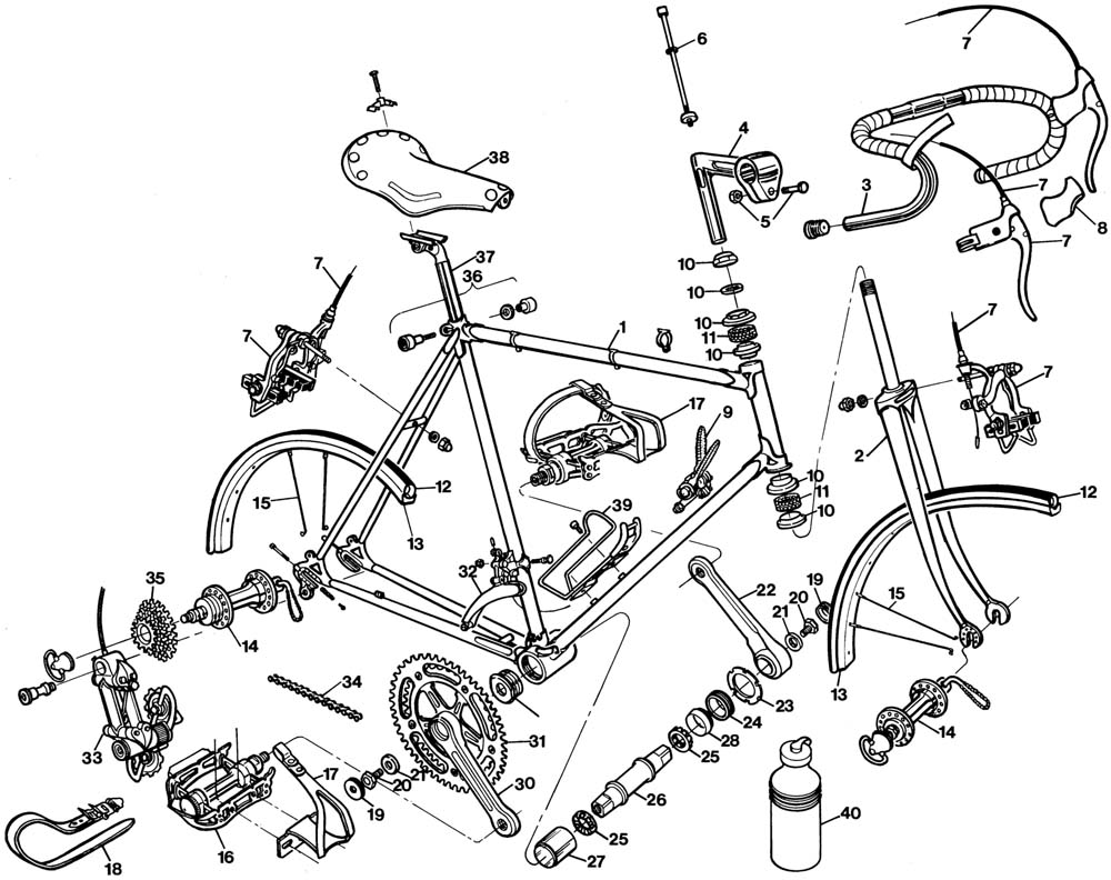 raleigh team professional dl185 bicycle exploded drawing. Black Bedroom Furniture Sets. Home Design Ideas