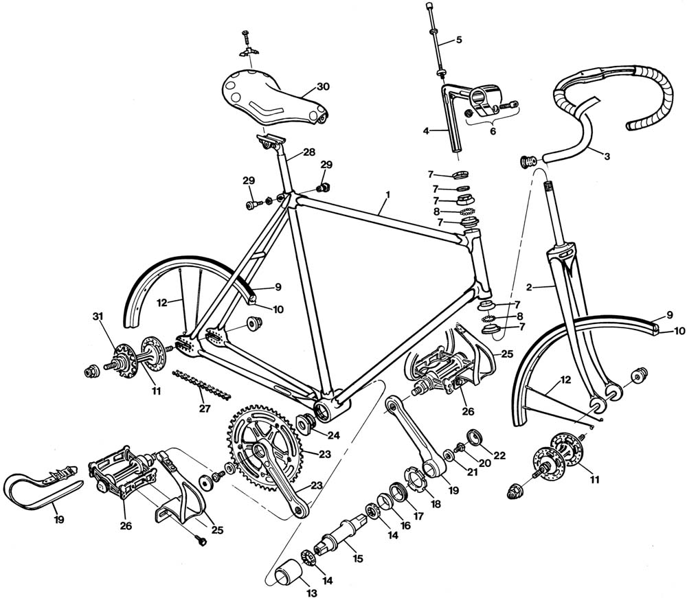 raleigh track bike dl175 bicycle exploded drawing from