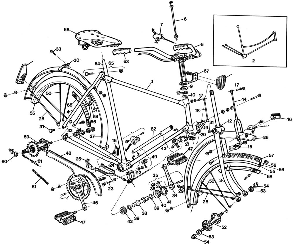 raleigh tourist dl1 bicycle exploded drawing from 1977. Black Bedroom Furniture Sets. Home Design Ideas